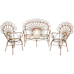Antique Wrought Iron Garden Bench, Chairs and Table