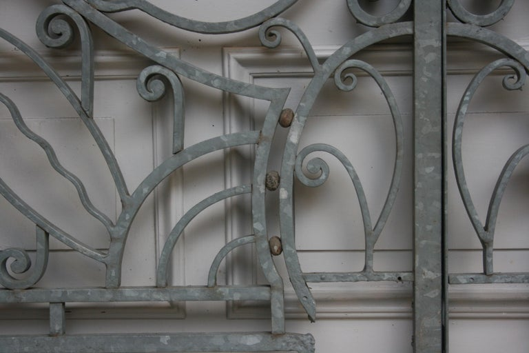 Antique Wrought Iron Gate from Switzerland, Sandblasted and Galvanized For Sale 4