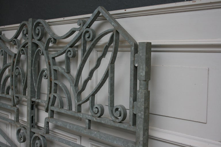 Antique Wrought Iron Gate from Switzerland, Sandblasted and Galvanized For Sale 5