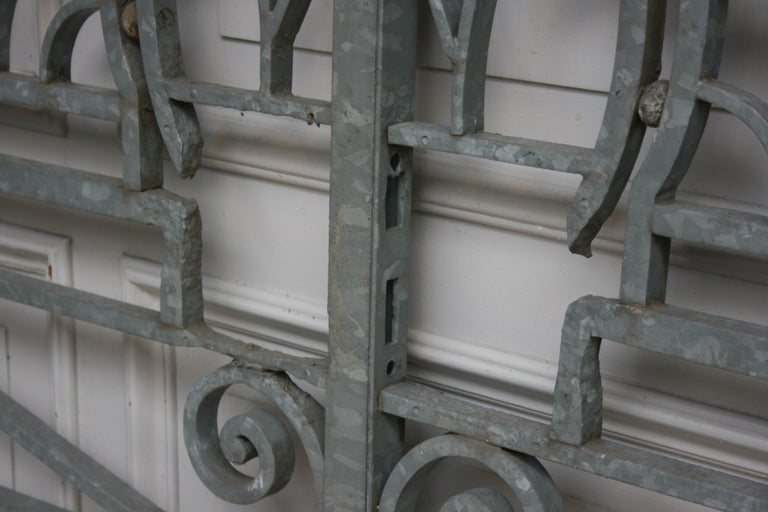 Antique Wrought Iron Gate from Switzerland, Sandblasted and Galvanized For Sale 6