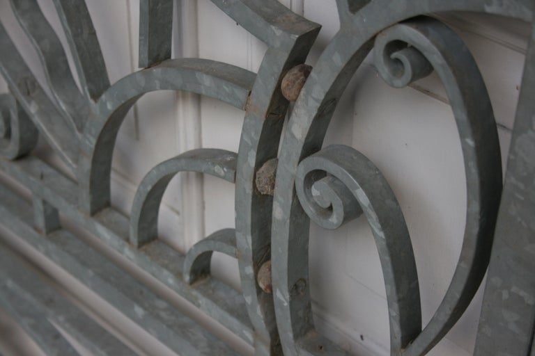 Antique Wrought Iron Gate from Switzerland, Sandblasted and Galvanized For Sale 8