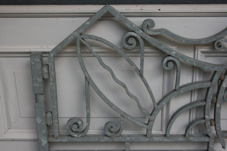 Antique Wrought Iron Gate from Switzerland, Sandblasted and Galvanized For Sale 9