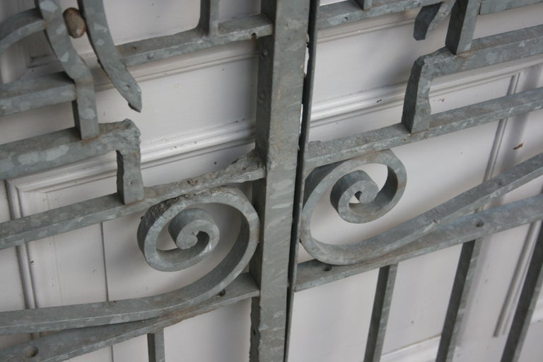 Antique Wrought Iron Gate from Switzerland, Sandblasted and Galvanized For Sale 10
