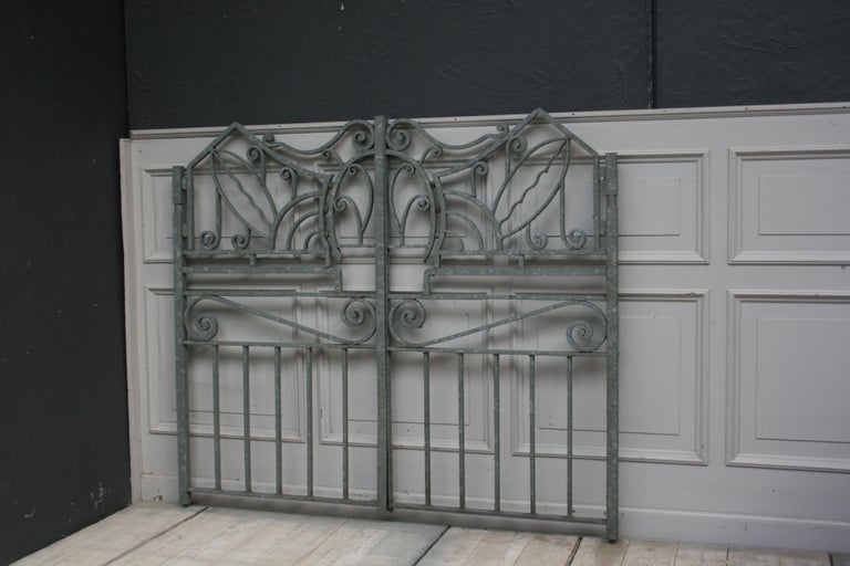 Country Antique Wrought Iron Gate from Switzerland, Sandblasted and Galvanized For Sale