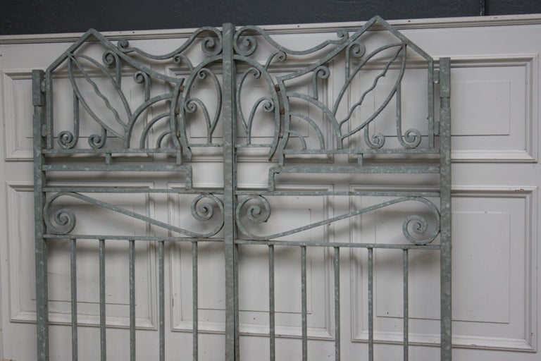 Swiss Antique Wrought Iron Gate from Switzerland, Sandblasted and Galvanized For Sale