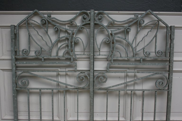 19th Century Antique Wrought Iron Gate from Switzerland, Sandblasted and Galvanized For Sale