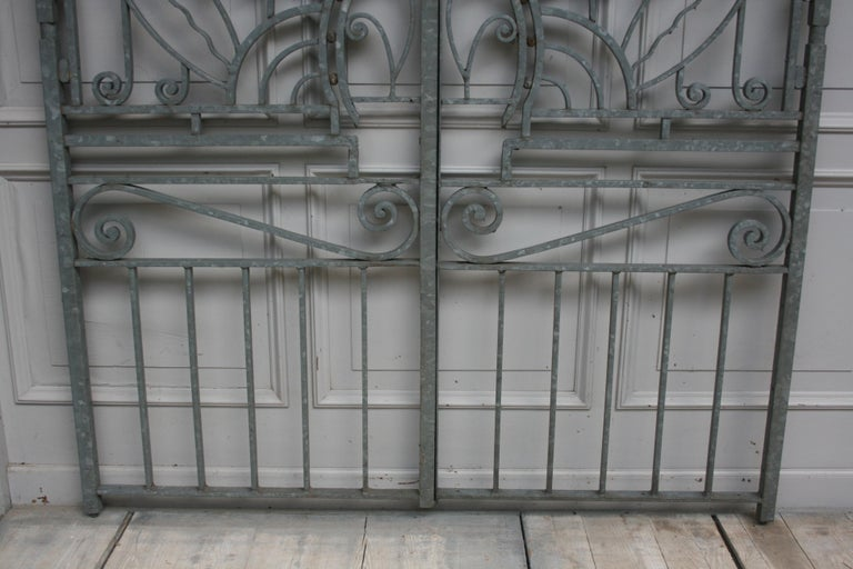 Antique Wrought Iron Gate from Switzerland, Sandblasted and Galvanized For Sale 1