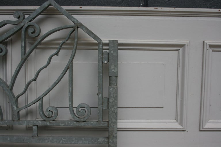 Antique Wrought Iron Gate from Switzerland, Sandblasted and Galvanized For Sale 2