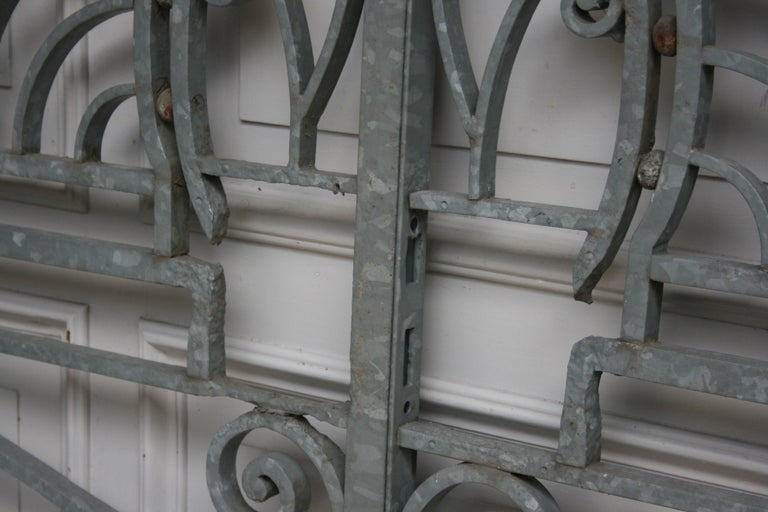 Antique Wrought Iron Gate from Switzerland, Sandblasted and Galvanized For Sale 3