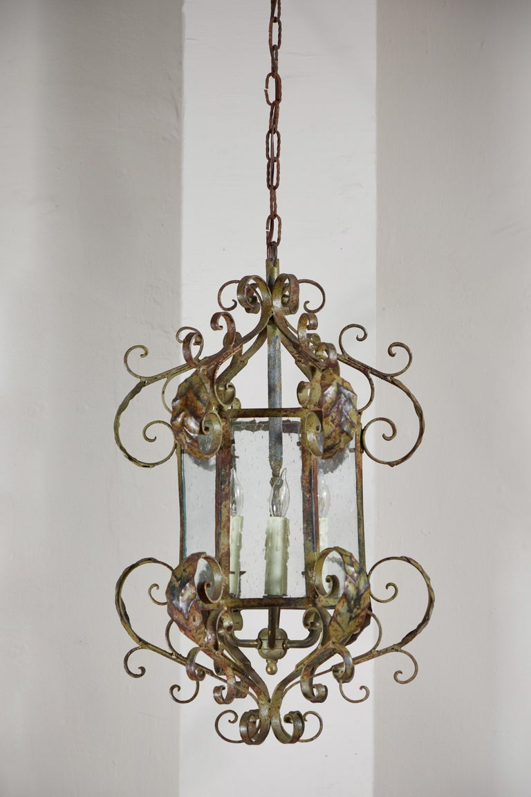 American Antique Wrought Iron Lantern For Sale