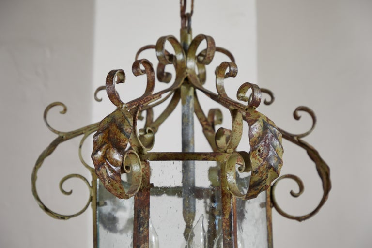 Patinated Antique Wrought Iron Lantern For Sale