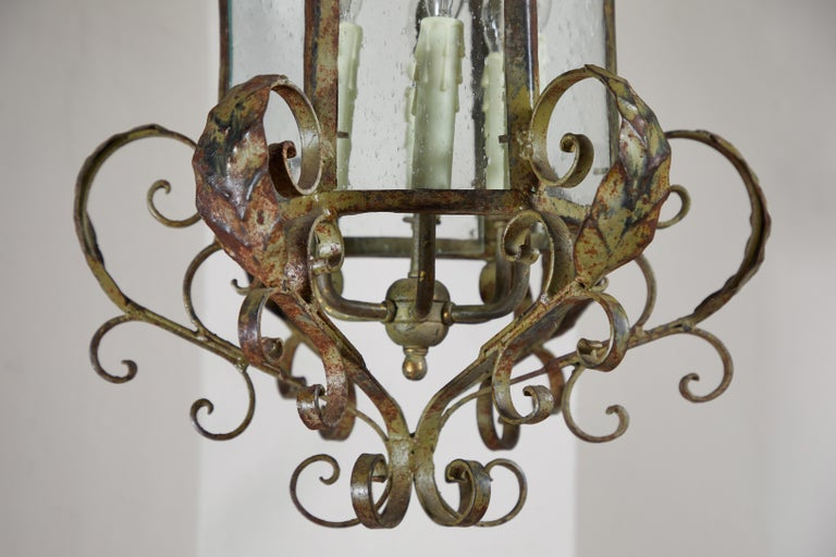 Antique Wrought Iron Lantern In Good Condition For Sale In Los Angeles, CA