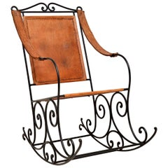 Antique Wrought Iron and Leather Rocking Chair