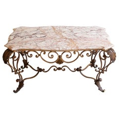 Antique Wrought Iron and Marble Coffee Table