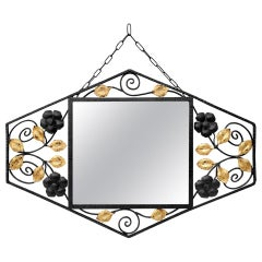 Antique Wrought Iron Mirror, Gilt Foliages, Art Deco, circa 1935
