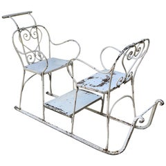 Antique Wrought Iron Sleigh in Country French Style