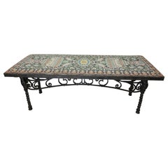 Antique Wrought Iron Spanish Tile Top Table