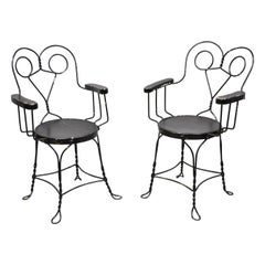 Antique Wrought Iron Twisted Metal Ice Cream Parlor Arm Chairs Wood Arms, Pair