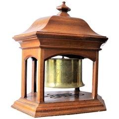 Antique WW1 Era Brass Trench Art Engraved Shell Casing Dinner Bell or Gong