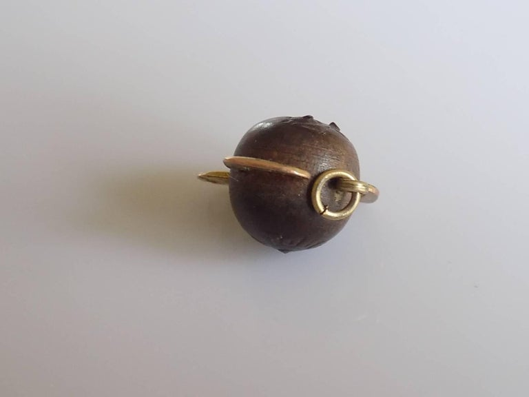 Edwardian Gold Antique WWI Gold Mr Touch Wud Wood Lucky Charm Pendant For Sale