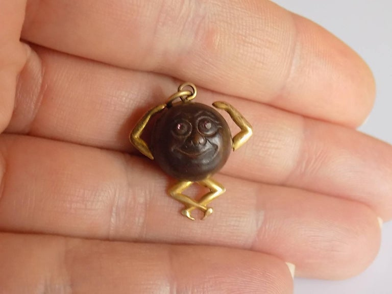 Women's or Men's Gold Antique WWI Gold Mr Touch Wud Wood Lucky Charm Pendant For Sale