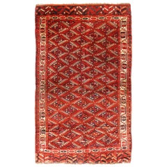 Antique Yamut Traditional Red and Blue Wool Rug