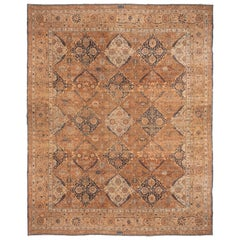 Antique Yazd Brown and Blue Wool Rug with All-Over Floral Patterns