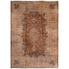 Antique Yazd Traditional Blue and Caramel Wool Rug with All-Over Floral Pattern