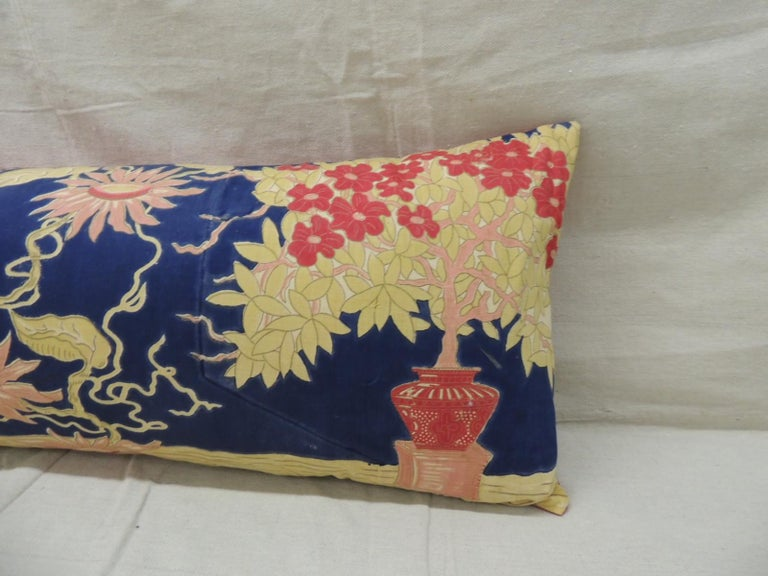 Antique yellow and blue Indian peacock long bolster decorative pillow. Depicting peacock and tree of life. Pink texture linen backing. Decorative pillow handcrafted and designed in the USA. Closure by stitch (no zipper closure) with custom made