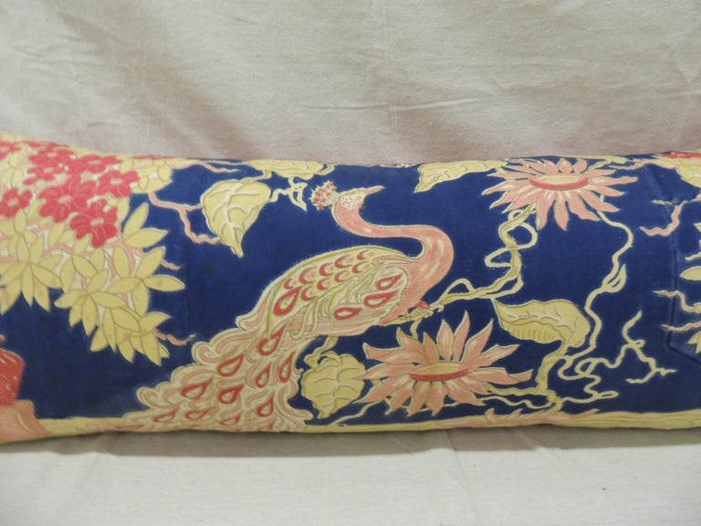 Moorish Antique Yellow and Blue Indian Peacock Long Bolster Decorative Pillow For Sale