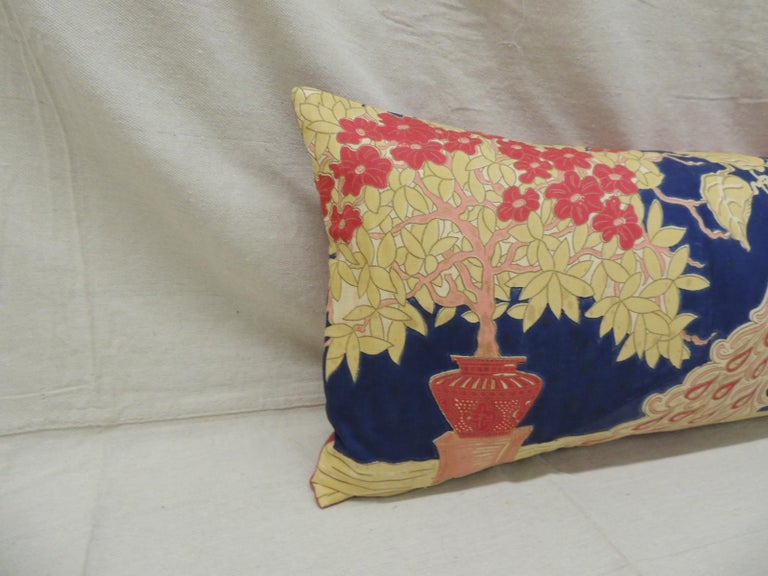 Hand-Crafted Antique Yellow and Blue Indian Peacock Long Bolster Decorative Pillow For Sale