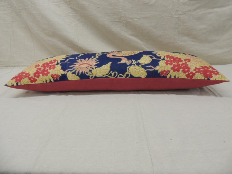 Antique Yellow and Blue Indian Peacock Long Bolster Decorative Pillow In Good Condition For Sale In Oakland Park, FL