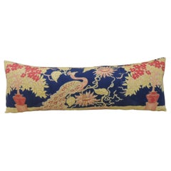 Antique Yellow and Blue Indian Peacock Long Bolster Decorative Pillow