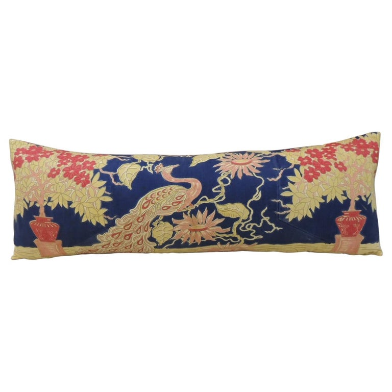 Antique Yellow and Blue Indian Peacock Long Bolster Decorative Pillow For Sale