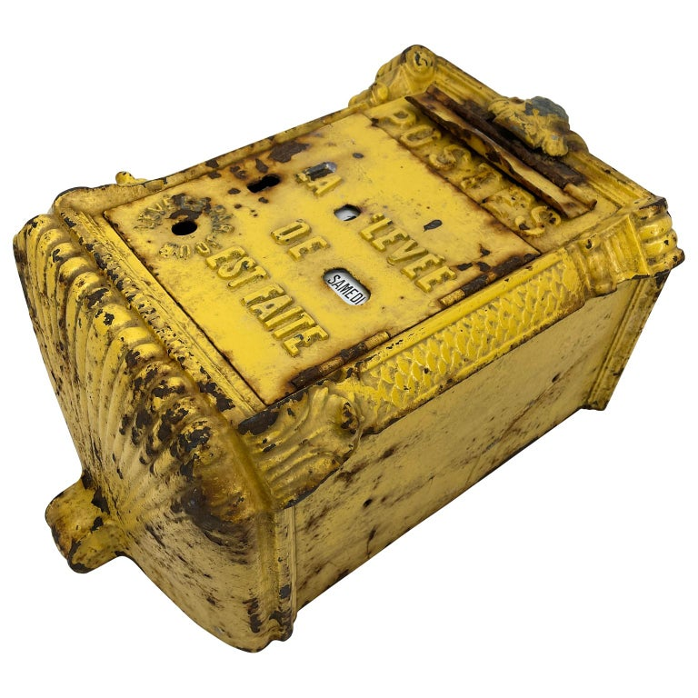Antique Yellow Cast Iron French Mailbox with Enamel Date Dials For Sale 6