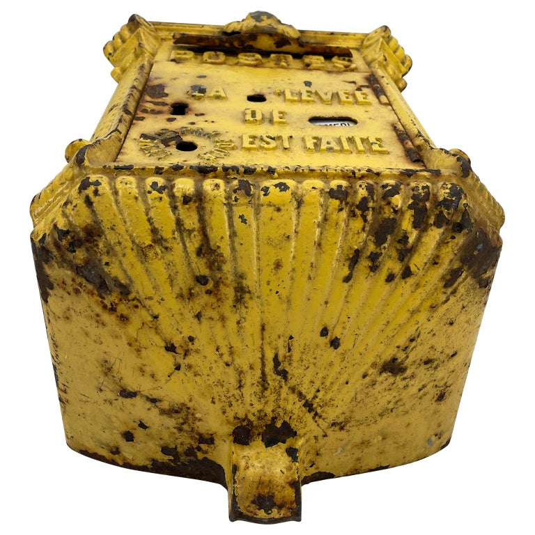 Antique Yellow Cast Iron French Mailbox with Enamel Date Dials For Sale 7