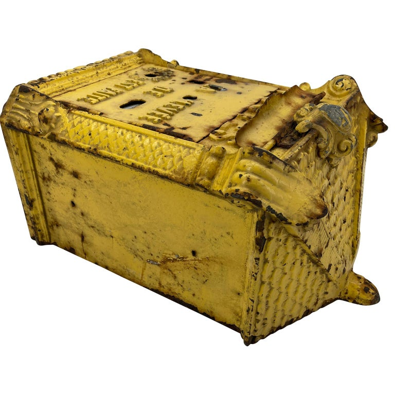 Antique Yellow Cast Iron French Mailbox with Enamel Date Dials For Sale 11