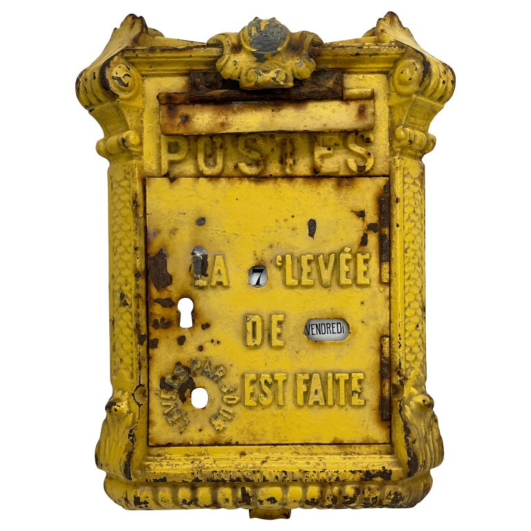 Antique Yellow Cast Iron French Mailbox with Enamel Date Dials For Sale 12