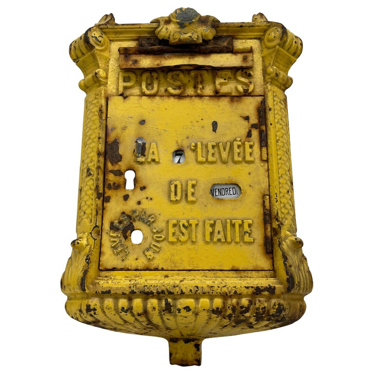 Antique Yellow Cast Iron French Mailbox with Enamel Date Dials For Sale 13