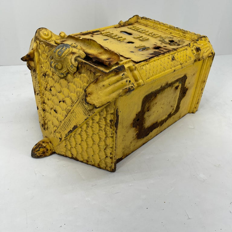 Art Deco Antique Yellow Cast Iron French Mailbox with Enamel Date Dials For Sale