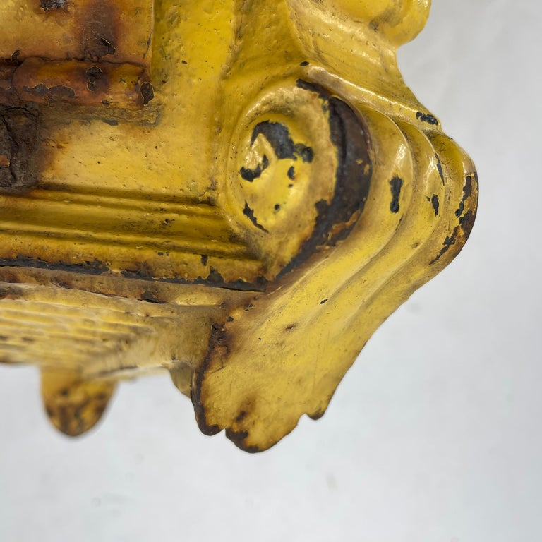 Early 20th Century Antique Yellow Cast Iron French Mailbox with Enamel Date Dials For Sale