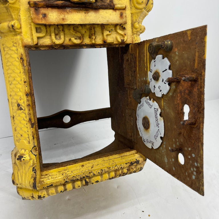 Antique Yellow Cast Iron French Mailbox with Enamel Date Dials For Sale 2