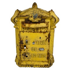 Antique Yellow Cast Iron French Mailbox with Enamel Date Dials