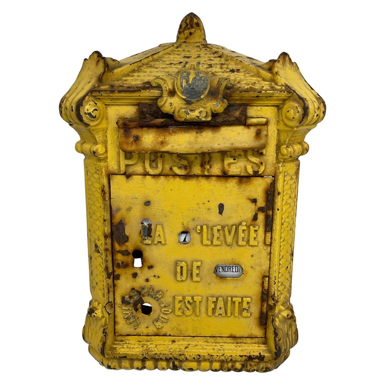Antique Yellow Cast Iron French Mailbox with Enamel Date Dials For Sale