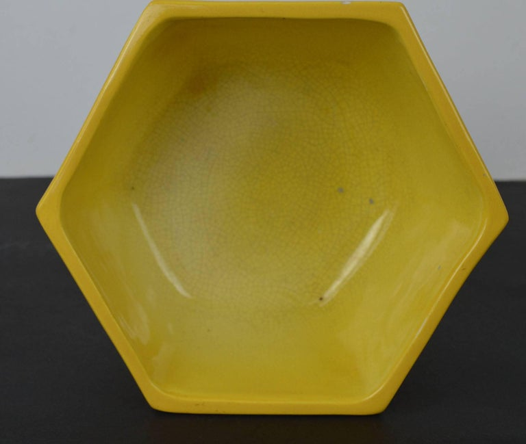 Glazed Antique Yellow Ceramic Bowl in Chinese Style For Sale