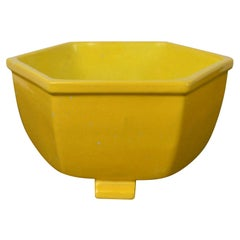 Antique Yellow Ceramic Bowl in Chinese Style