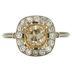 Antique Yellow Diamond Engagement Ring 1.32 Carat Solitaire Platinum Pave' Halo