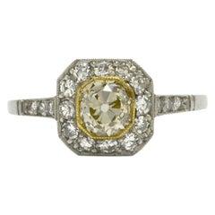Antique Yellow Diamond Engagement Ring Art Deco Cushion 1 Carat Platinum Target