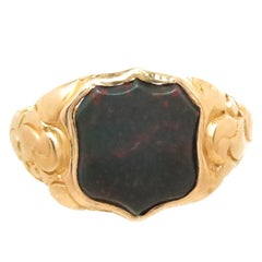 Antique Yellow Gold and Blood Stone Intaglio Ring