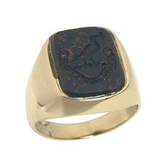 Antique Yellow Gold and Bloodstone Intaglio Signet Ring